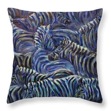 Throw Pillow featuring the painting A Group Of Zebras by Xueling Zou