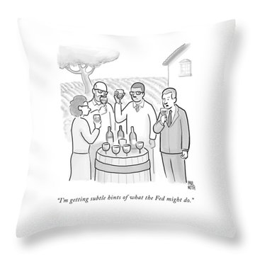 A Group Sample Wine At A Wine Tasting Vineyard Throw Pillow