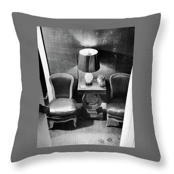 A Hallway With Blueprints Throw Pillow
