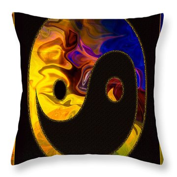 Throw Pillow featuring the digital art A Happy Balance Of Energies Abstract Healing Art by Omaste Witkowski