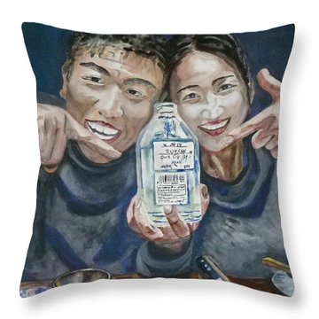 Throw Pillow featuring the painting A Happy Birthday by Anna Ruzsan