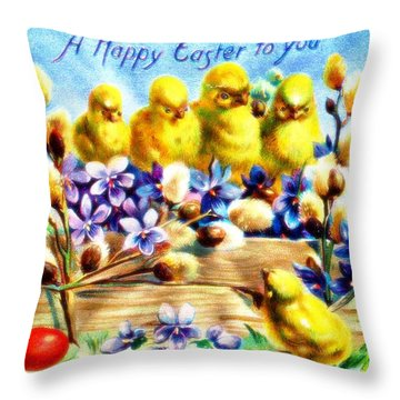 A Happy Easter To You 1910 Vintage Postcard Throw Pillow