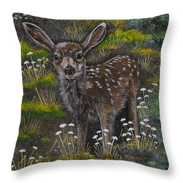 Throw Pillow featuring the painting A Happy Fawn by Jennifer Lake