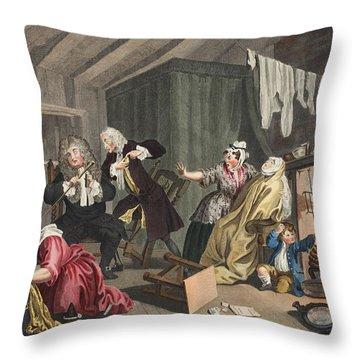 A Harlots Progress, Plate V Throw Pillow by William Hogarth