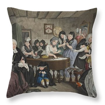 A Harlots Progress, Plate Vi Throw Pillow by William Hogarth