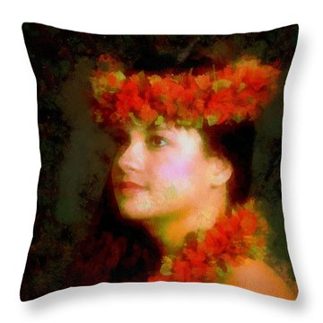 Throw Pillow featuring the painting A Hawaian Princess by Mario Carini