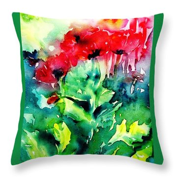 A Haze Of Poppies Throw Pillow by Trudi Doyle