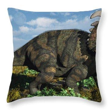 A Herd Of Albertaceratops Throw Pillow by Mark Stevenson