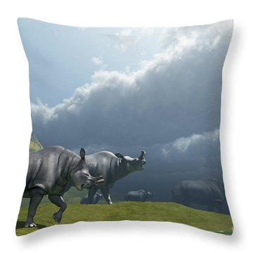 A Herd Of Brontotherium Dinosaurs Come Throw Pillow by Corey Ford