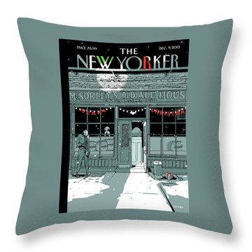 A Holiday Scene Outside The Bar Mcsorley's Throw Pillow