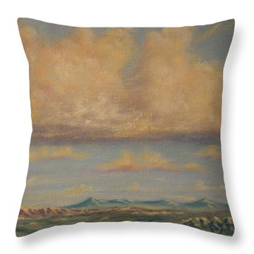 Throw Pillow featuring the painting A Hope For Rain by Roena King