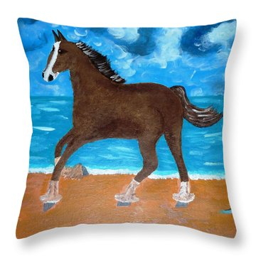A Horse On The Beach Throw Pillow