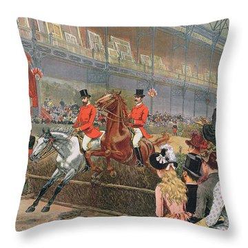A Horse Race Throw Pillow by Adrien Emmanuel Marie