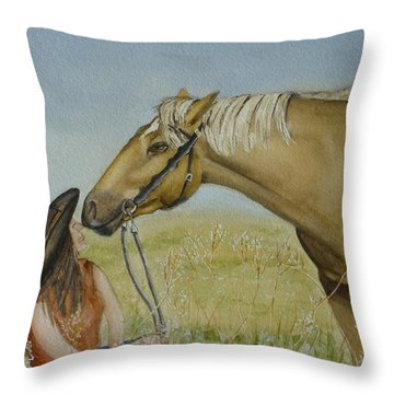 A Horses Gentle Touch Throw Pillow by Kelly Mills