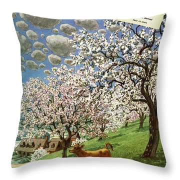 A House And Garden Cover Of A Calf Throw Pillow