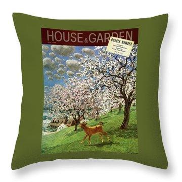 A House And Garden Cover Of A Calf Throw Pillow