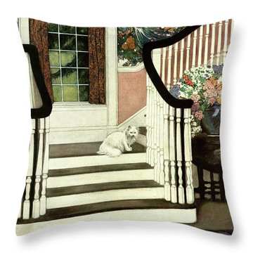 A House And Garden Cover Of A Cat On A Staircase Throw Pillow