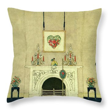 A House And Garden Cover Of A Fireplace Throw Pillow