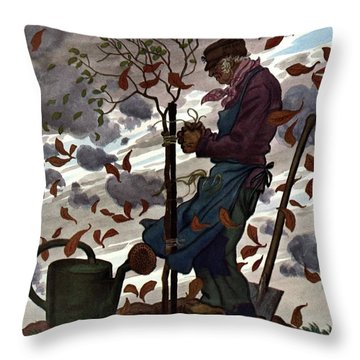 A House And Garden Cover Of A Gardener Throw Pillow