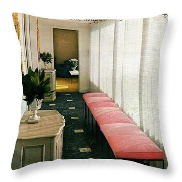A House And Garden Cover Of A Hallway Throw Pillow