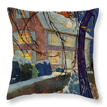 A House And Garden Cover Of A House In Winter Throw Pillow