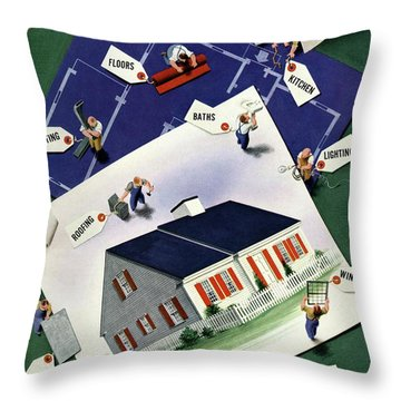 A House And Garden Cover Of A House Throw Pillow