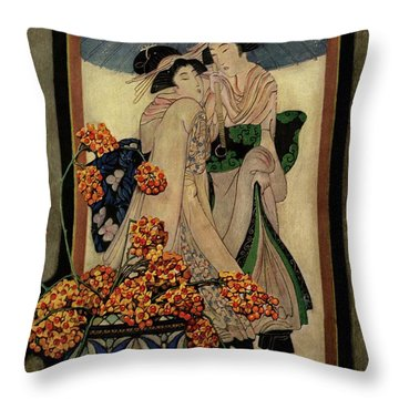 A House And Garden Cover Of A Japanese Print Throw Pillow