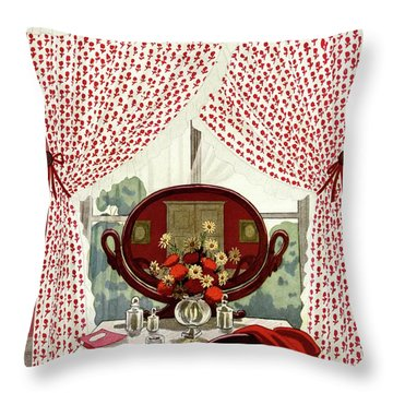 A House And Garden Cover Of A Mirror Throw Pillow