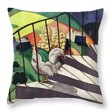 A House And Garden Cover Of A Rooster Throw Pillow