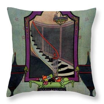 A House And Garden Cover Of A Staircase Throw Pillow