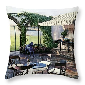 A House And Garden Cover Of A Terrace In East Throw Pillow