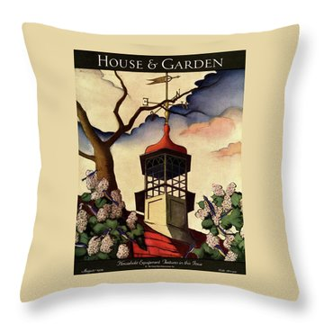 A House And Garden Cover Of A Weathervane Throw Pillow