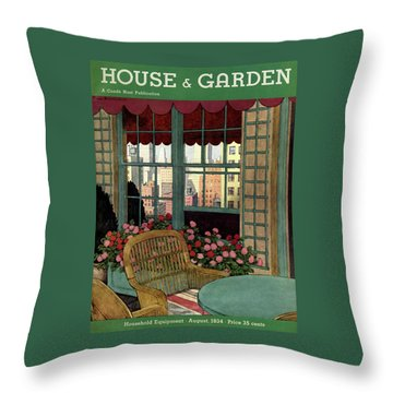 A House And Garden Cover Of A Wicker Chair Throw Pillow