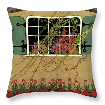 A House And Garden Cover Of A Window Throw Pillow