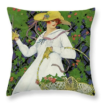 A House And Garden Cover Of A Woman Gardening Throw Pillow