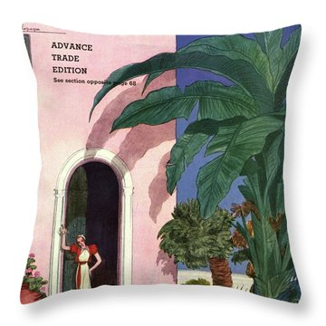 A House And Garden Cover Of A Woman In A Doorway Throw Pillow