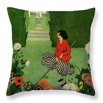 A House And Garden Cover Of A Woman Raking Leaves Throw Pillow