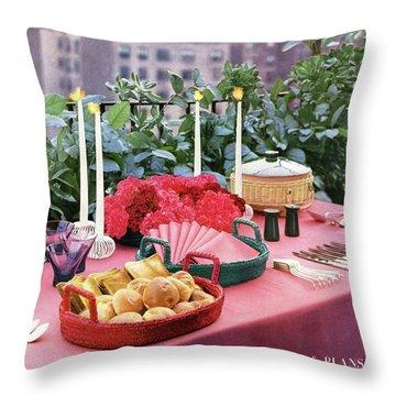 A House And Garden Cover Of Al Fresco Dining Throw Pillow