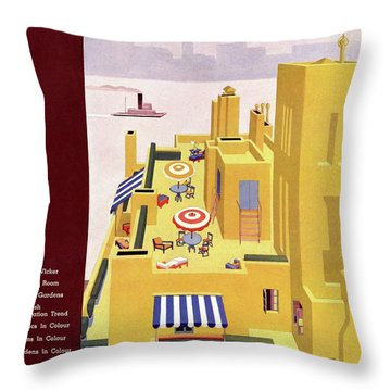 A House And Garden Cover Of An Apartment Building Throw Pillow