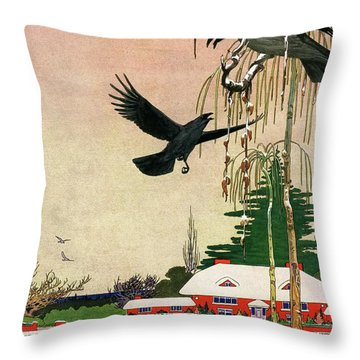 A House And Garden Cover Of Crows By A House Throw Pillow