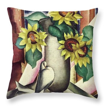 A House And Garden Cover Of Flowers And A Dove Throw Pillow