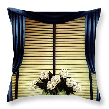 A House And Garden Cover Of Flowers By A Window Throw Pillow