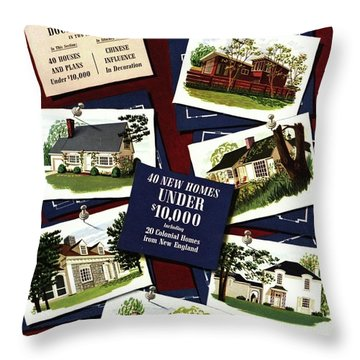 A House And Garden Cover Of Houses Throw Pillow