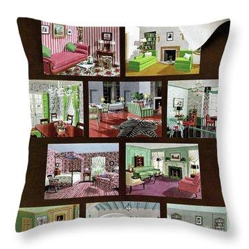 A House And Garden Cover Of Interior Design Throw Pillow