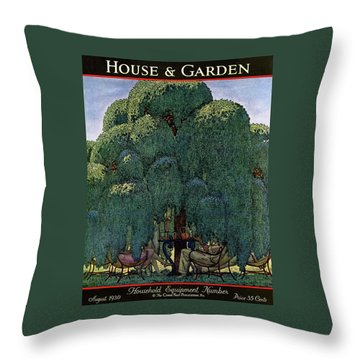 A House And Garden Cover Of People Dining Throw Pillow