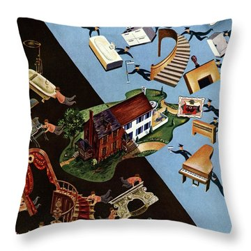 A House And Garden Cover Of People Moving House Throw Pillow