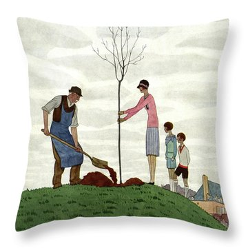 A House And Garden Cover Of People Planting Throw Pillow