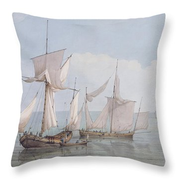 A Hoy And A Lugger With Other Shipping On A Calm Sea  Throw Pillow by John Thomas Serres