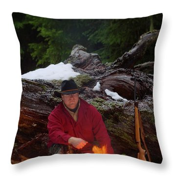 A Hunter Warms Himself By A Fire Throw Pillow