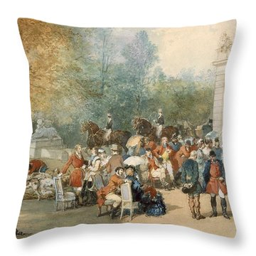A Hunting Breakfast In England, 1870 Throw Pillow by Eugene-Louis Lami